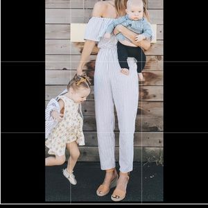 Gray and white striped jumpsuit